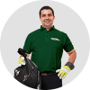 Fantastic dustman holding rubbish bag